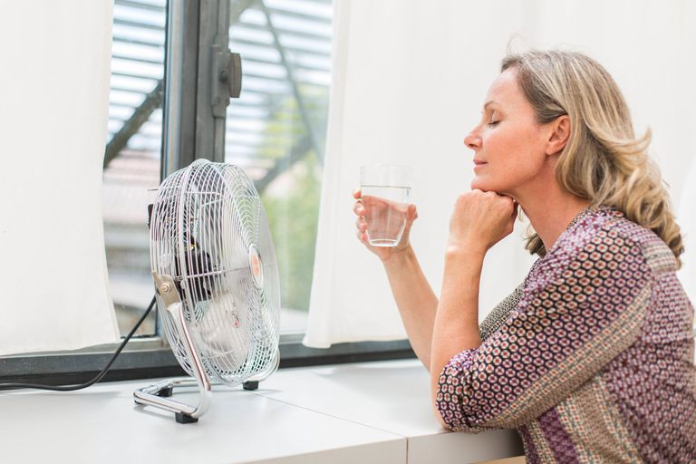 Woman using an electric fan.