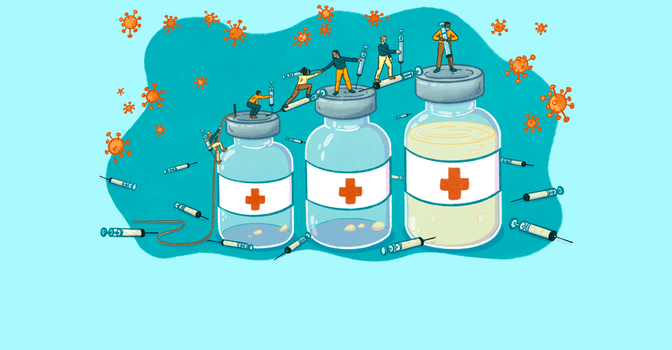 booster shot grand journey - three vials of vaccine with people climbing on them