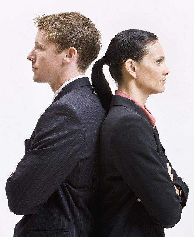 gender differences with man and woman in suits