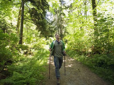 Man hiking with poles