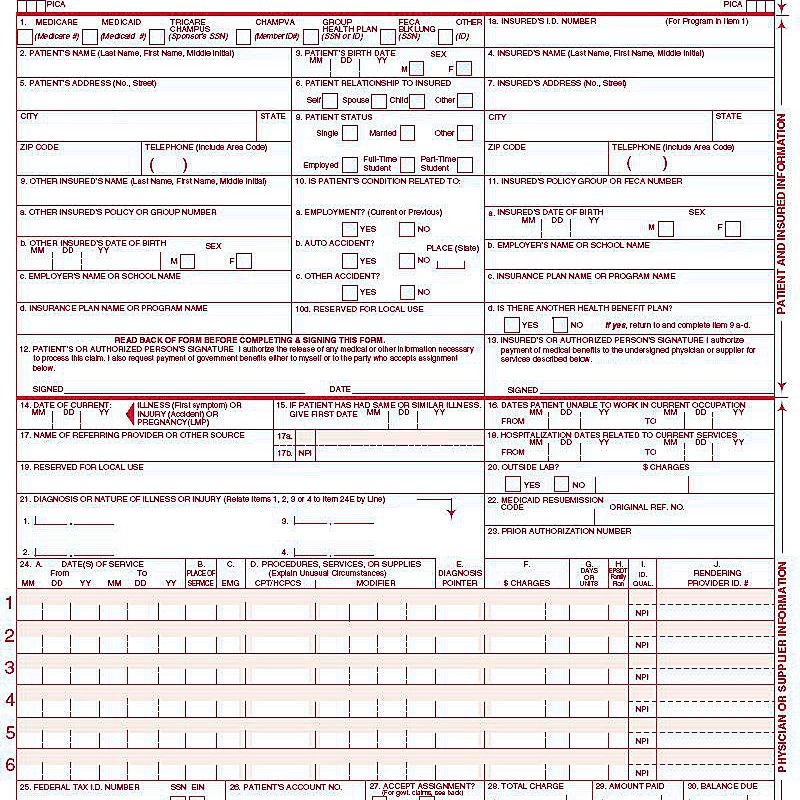 CMS 1500 Claim Form Versions And Tips