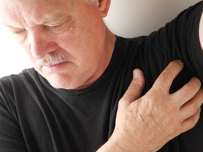 Man concerned about pain in his armpit