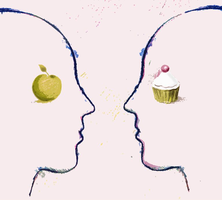Apple and cupcake on contrasting faces