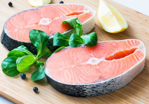 Salmon with herbs and lemon.