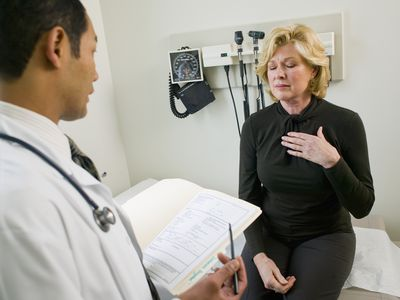Patient with Chest Pain talking to her doctor