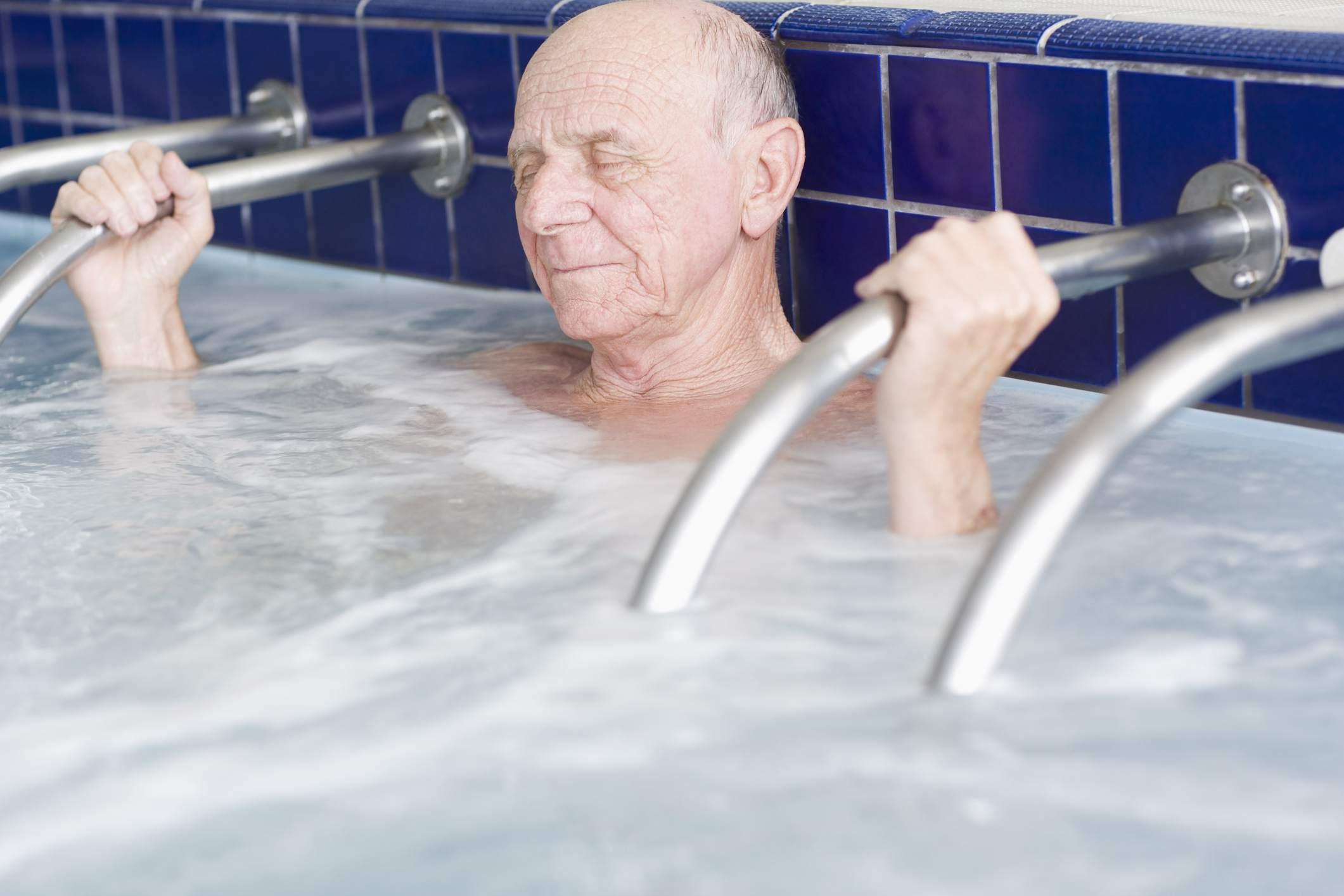 Man in whirlpool