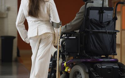 Using assistive devices - cane and wheelchair