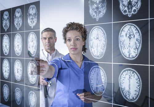 Two doctors studying brain scans