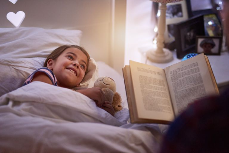 Child listening to bedtime story