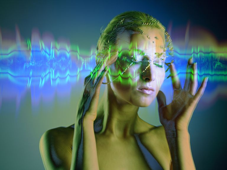 woman with graphic over her head depicting sensory overload