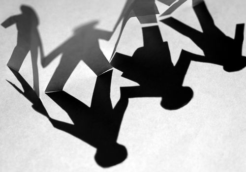 shadow of family cutout figures