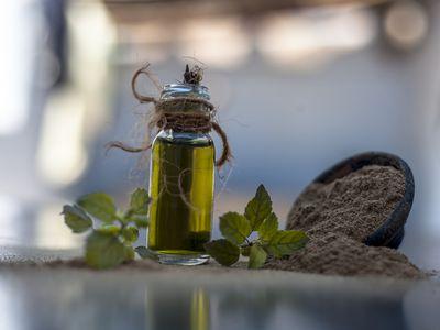 brahmi oil in a bottle