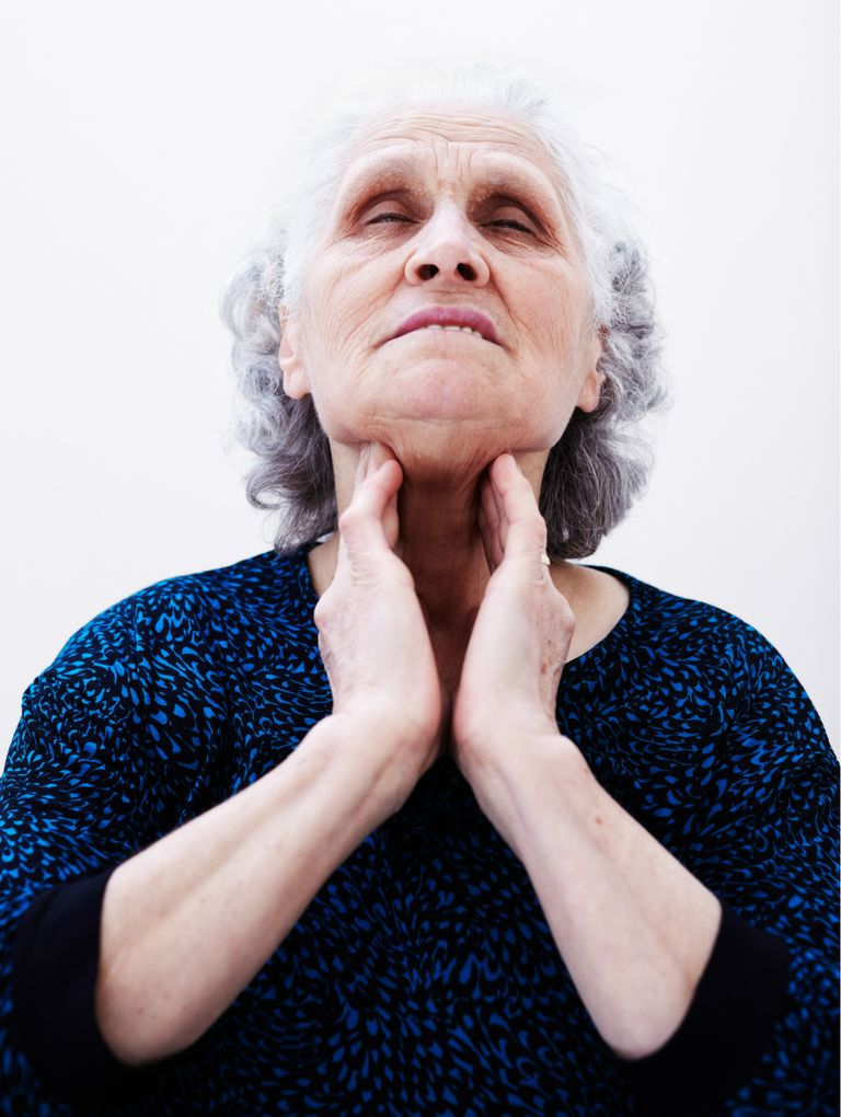 Elderly woman with throat problems