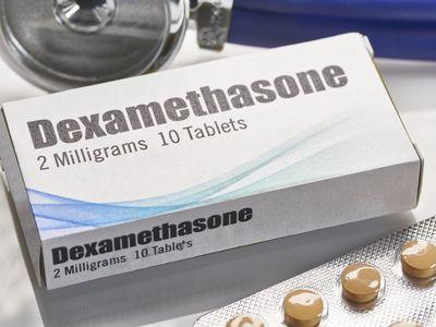 Dexamethasone: Box with pills of Covid-19 immune suppression drug