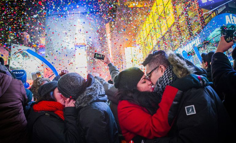 Couple kissing on New Years