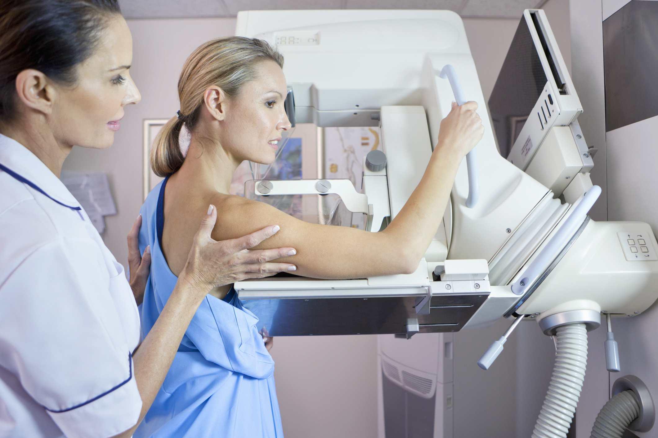 Woman getting a mamogram