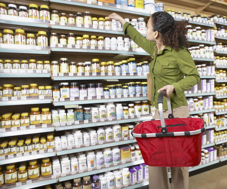 a woman shopping for supplements