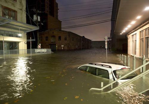 Urban street flooded.