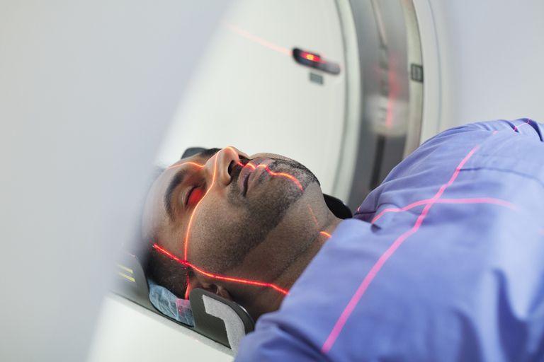 A patent undergoing an MRI scan.