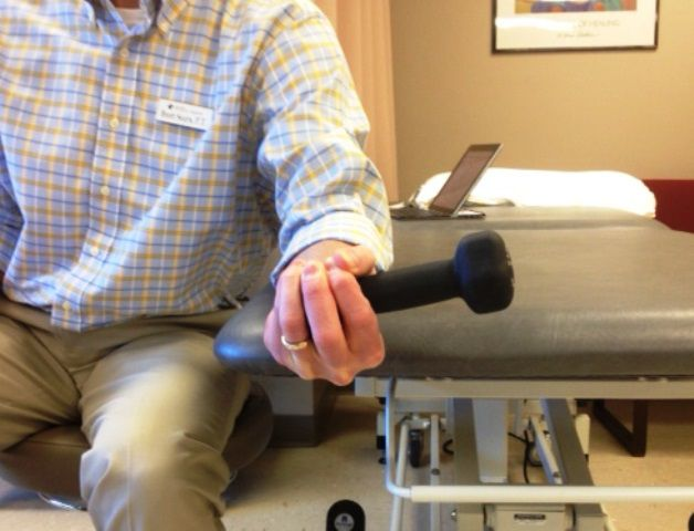 Wrist supination with a dumbbell.