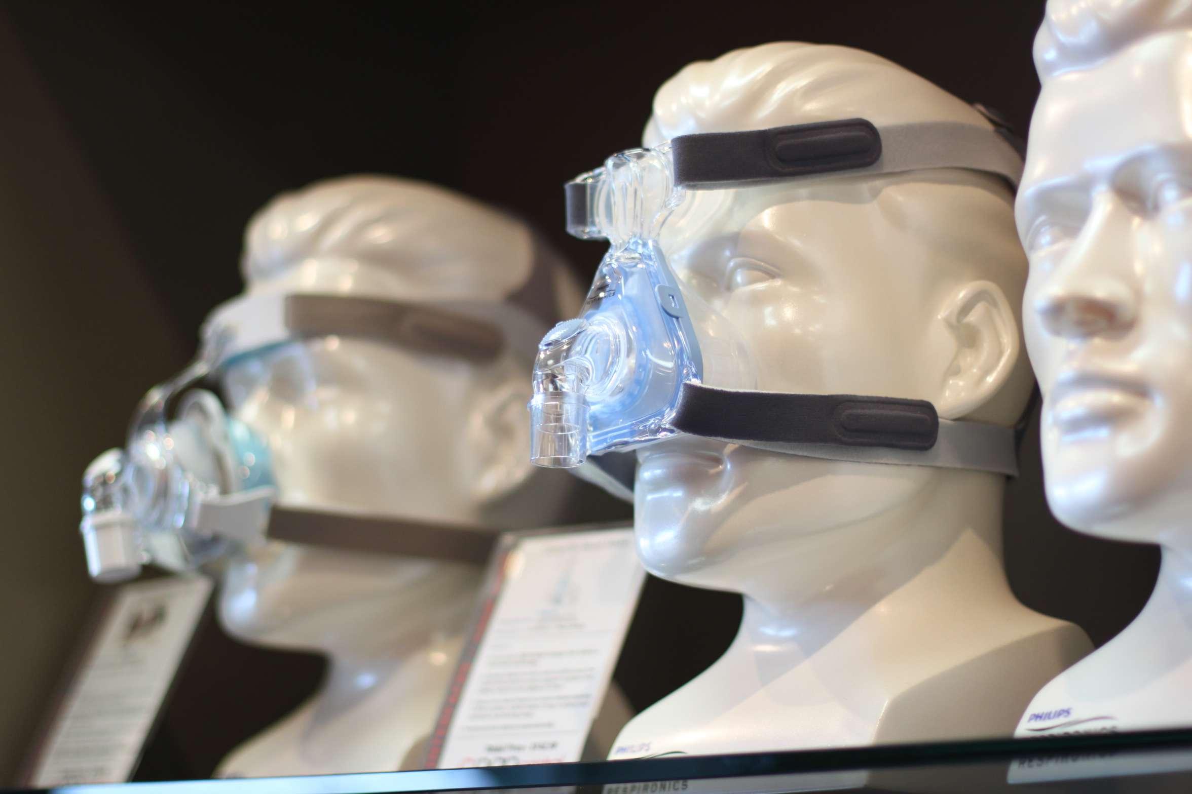 CPAP masks on display