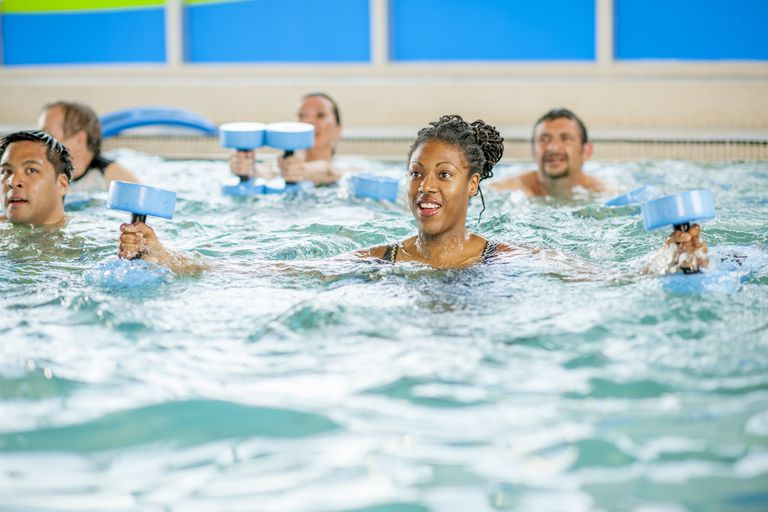 Adults doing exercises in pool