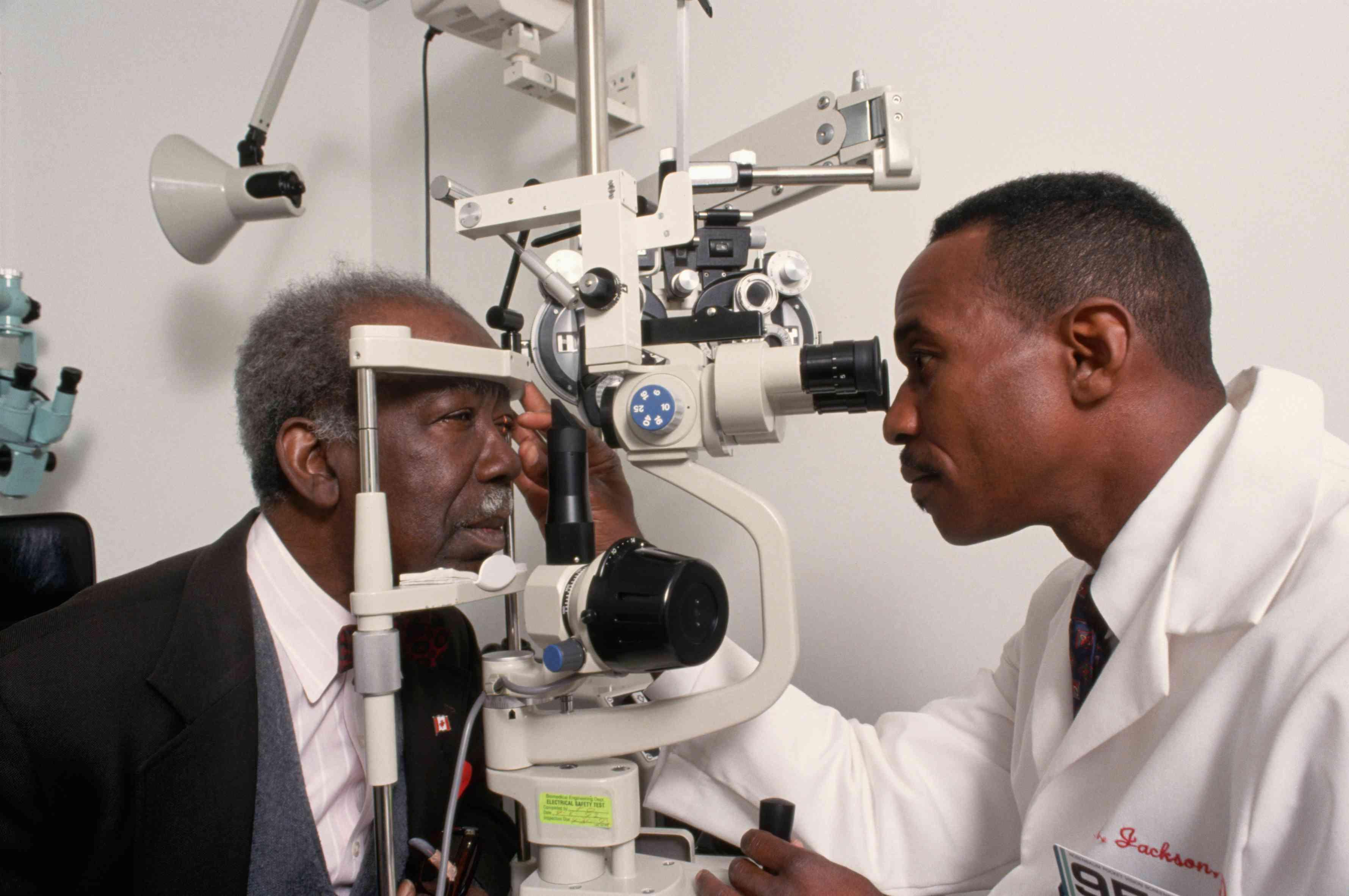 senior man at eye doctor