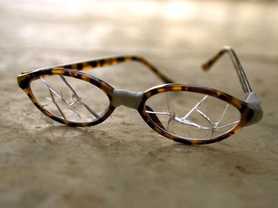 Glasses with cracked lenses
