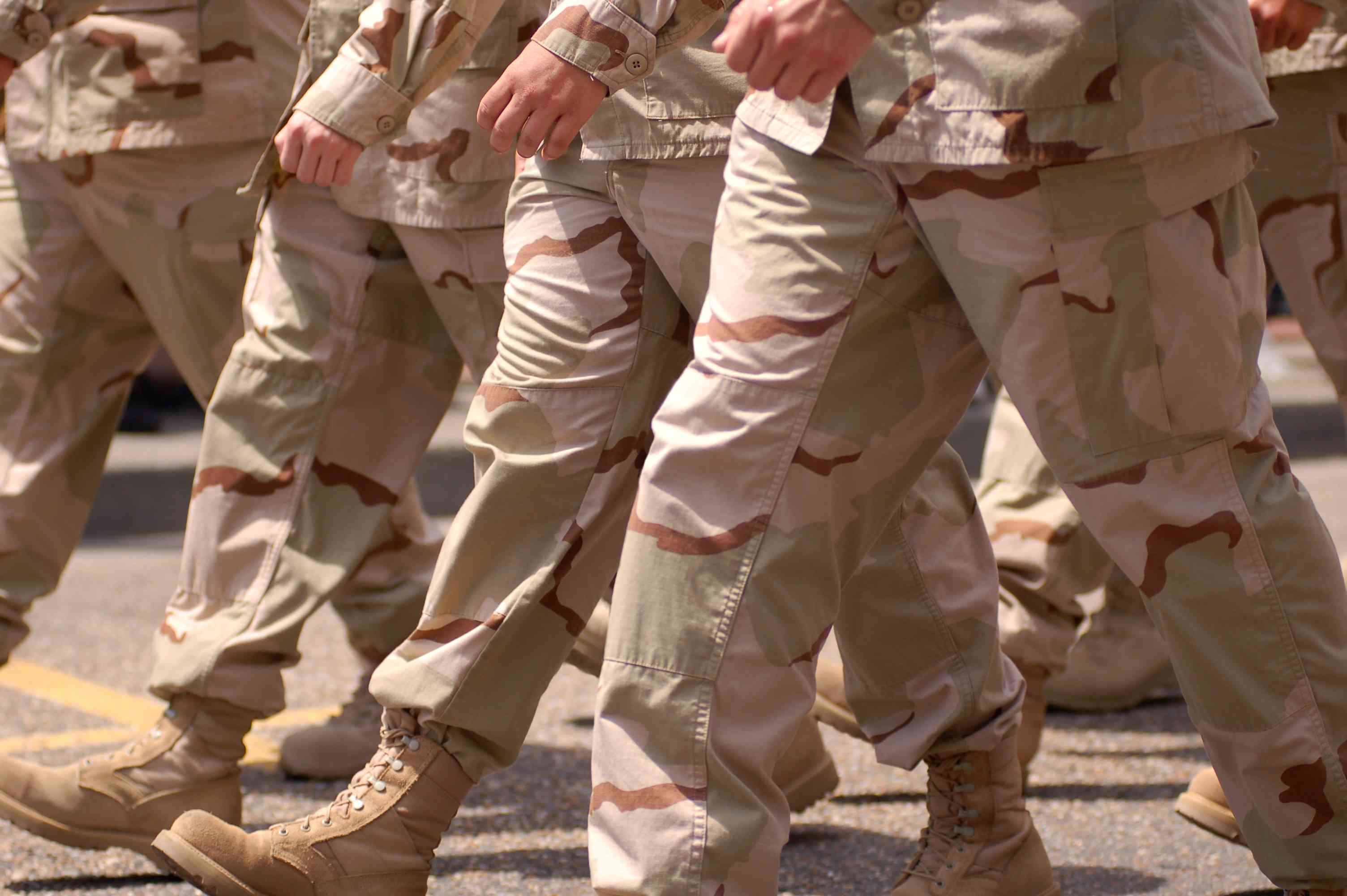 Soldiers marching in the daytime