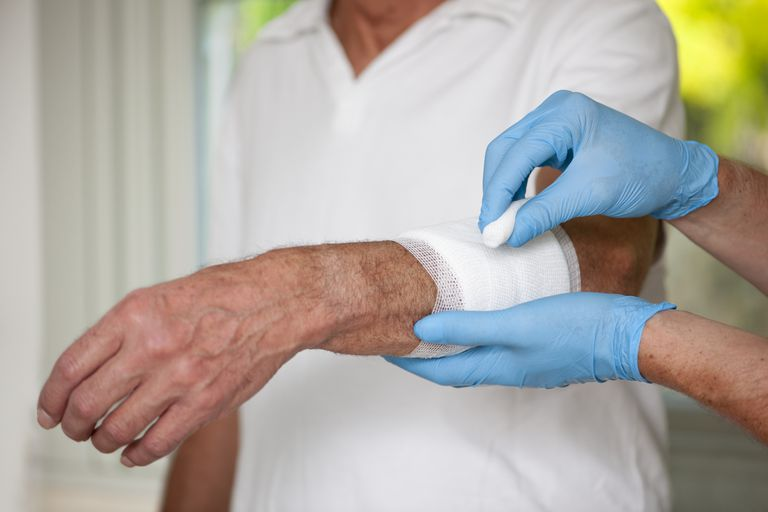 elderly patient gauze wrap