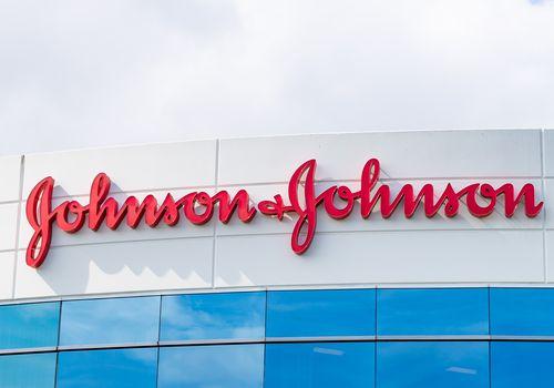 Johnson & Johnson logo on building.