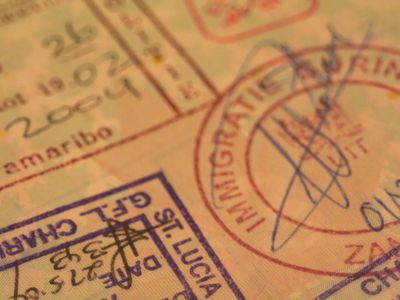 A passport that has different marking on it
