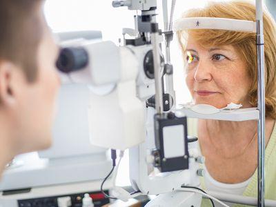 woman having eye exam