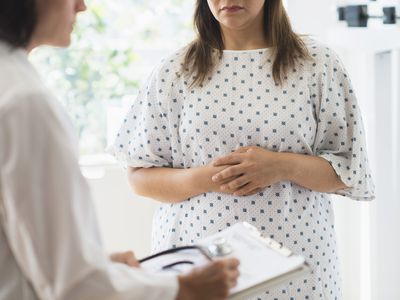 Woman at check up visit in doctor's office
