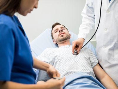 patient in the emergency room with signs of internal bleeding