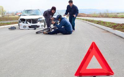 Bicycle and car crash