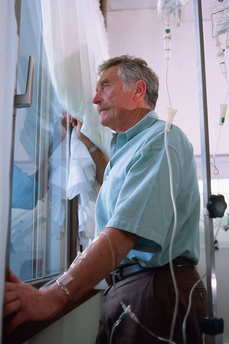 A man receiving chemotherapy.