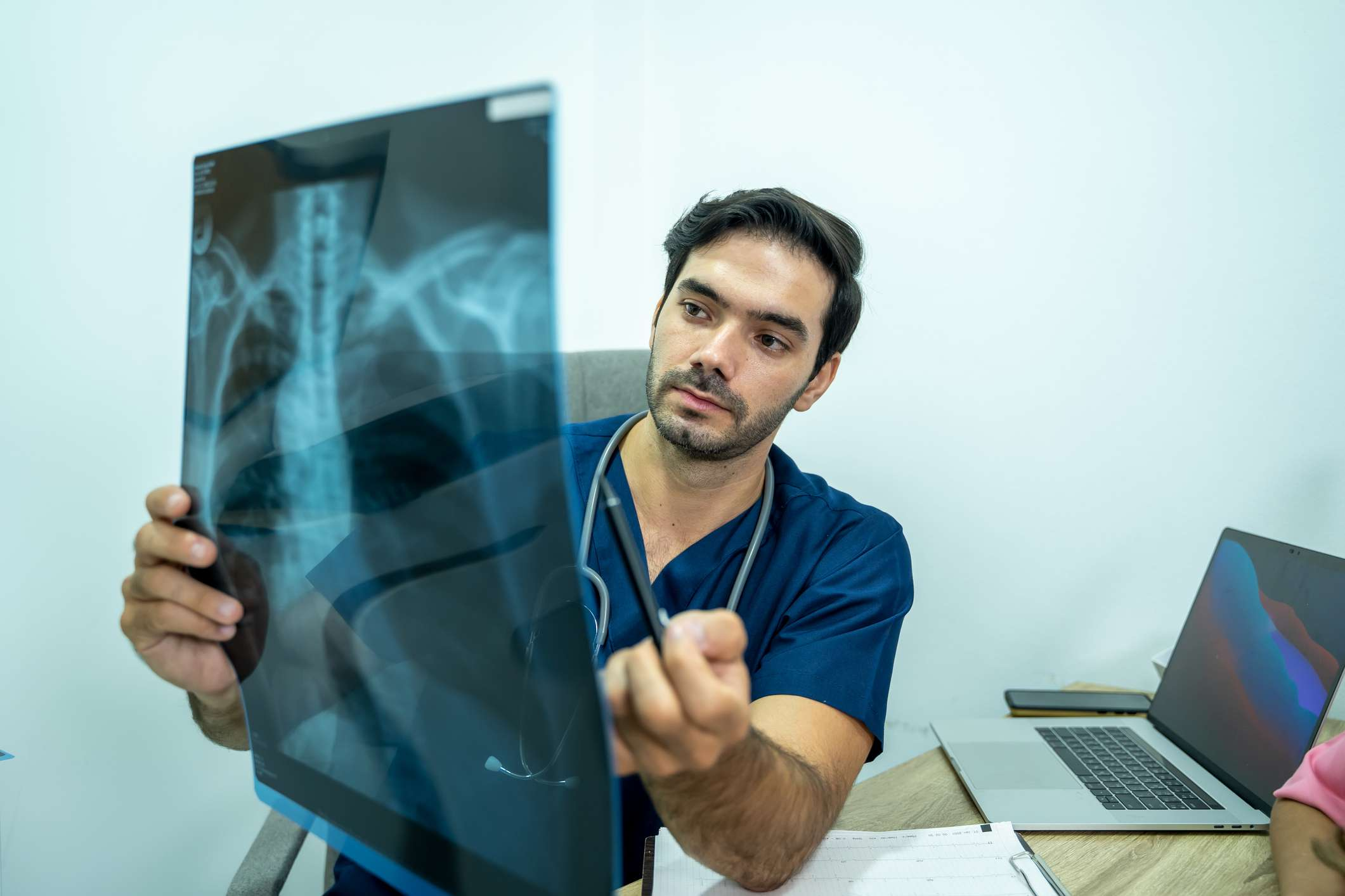Doctor looking at bone imaging