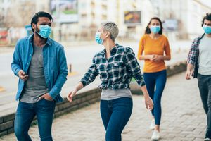 Group of friends wearing face masks.