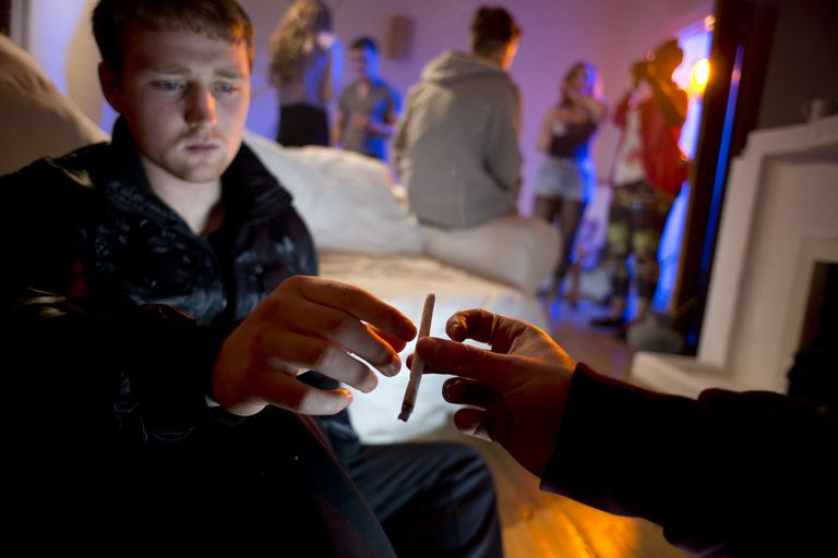Drugs and booze at a house party