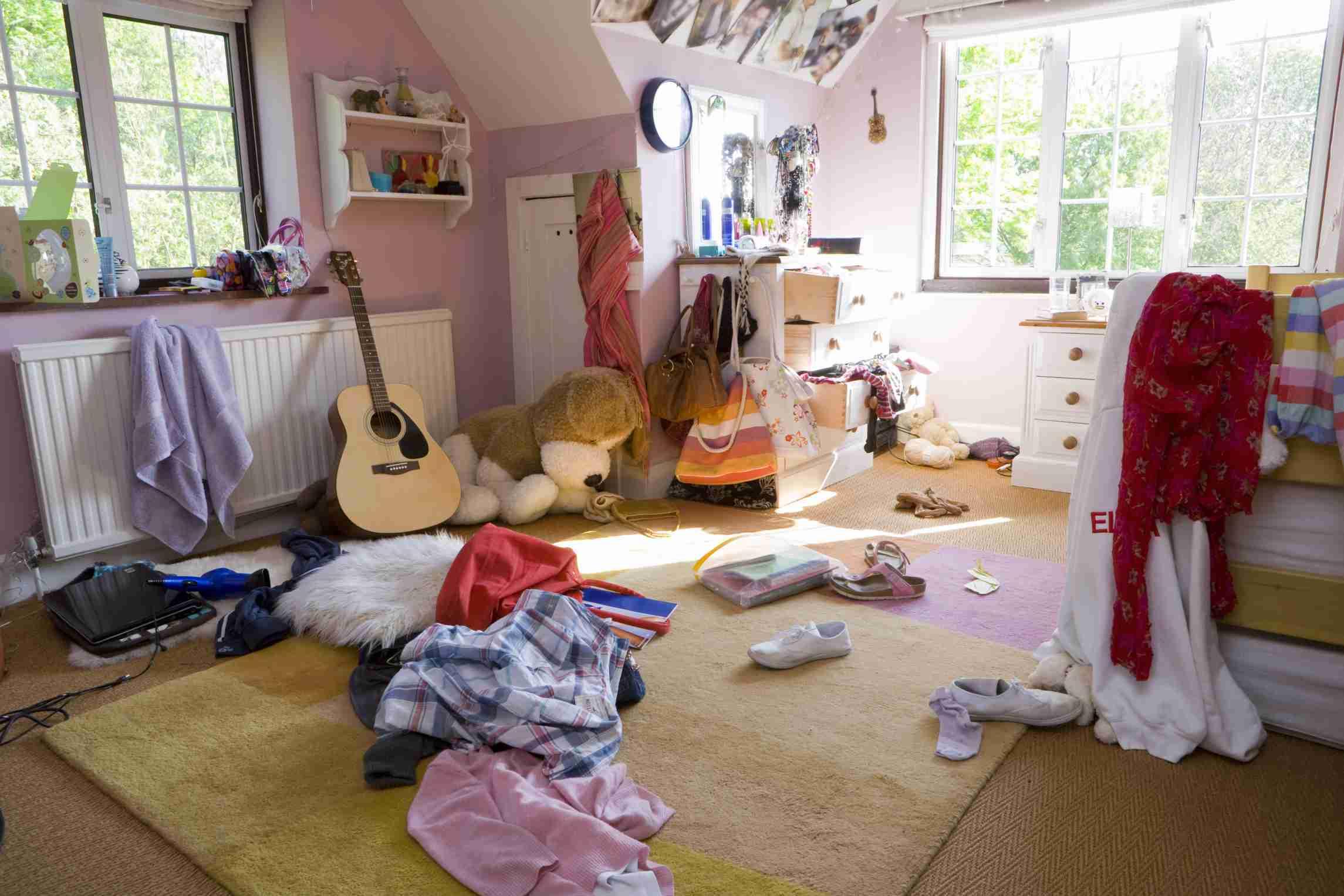 Clutter in a bedroom