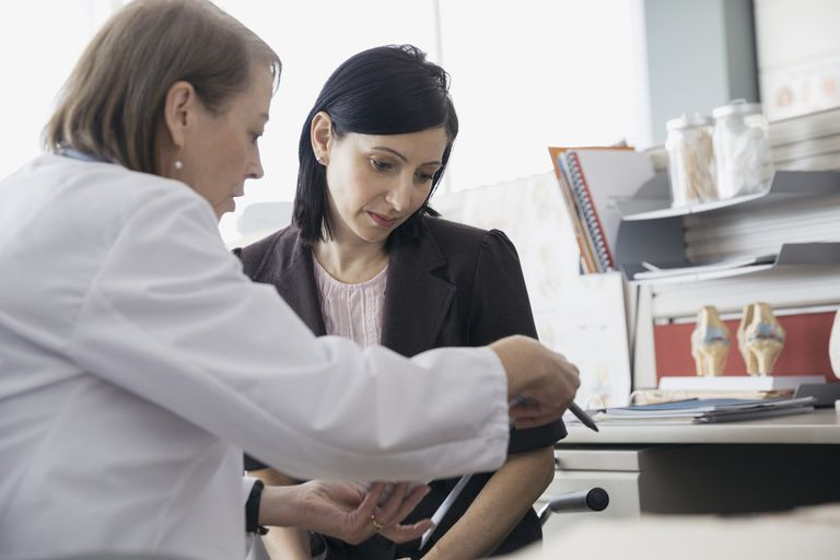 doctor and patient reviewing file