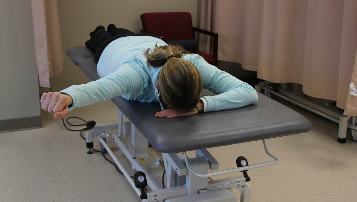 """The prone """"Y"""" exercise for scapular strengthening."""