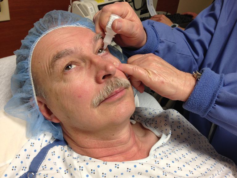 60-year-old man gets prepped for cataract surgery.