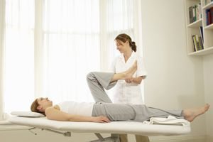 Woman receiving physical therapy for osteoarthritis