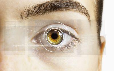 bda9221d87d A close up of a hazel eye with an overlay of a computer-generated retina
