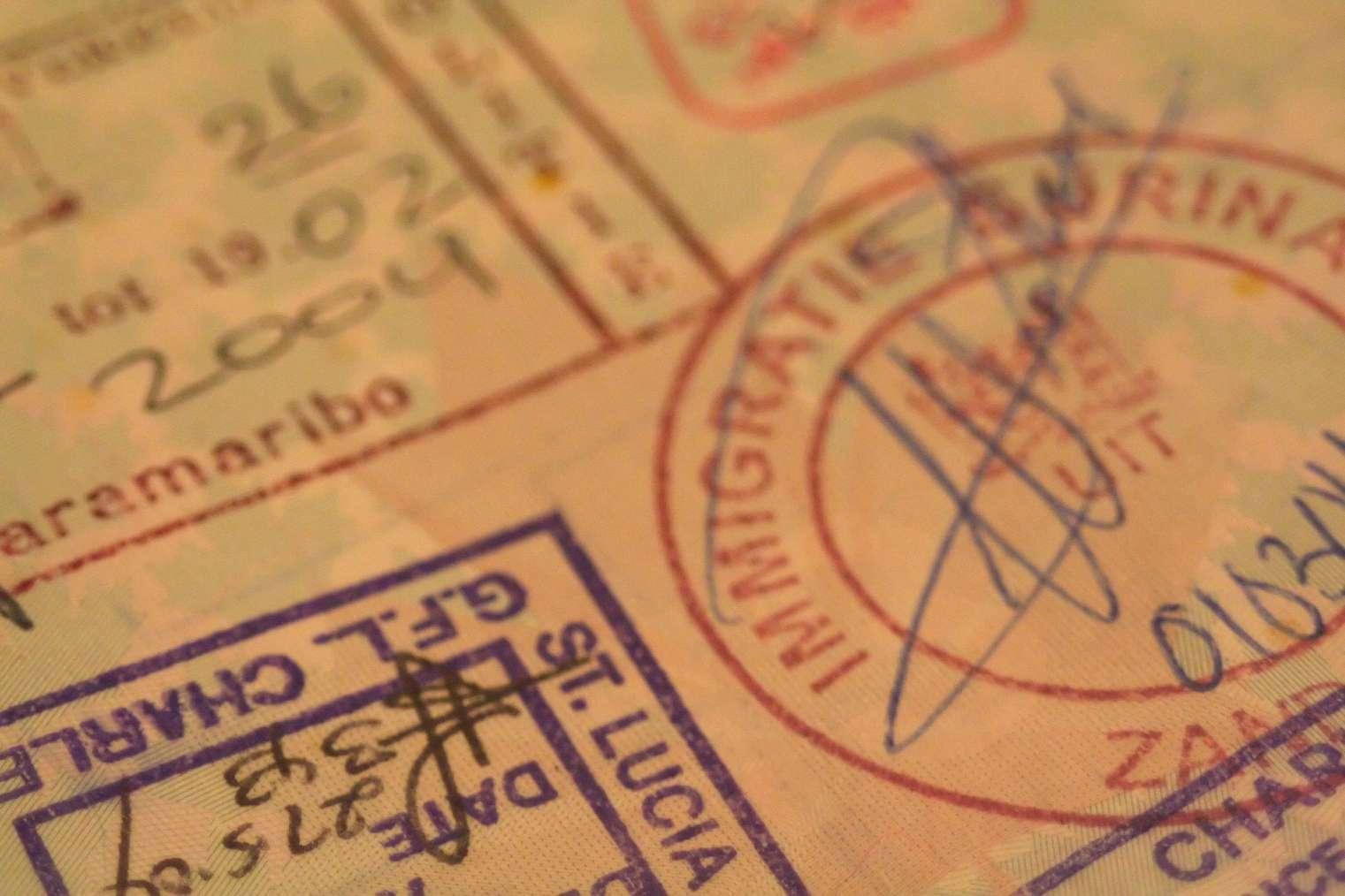 Close up of passport