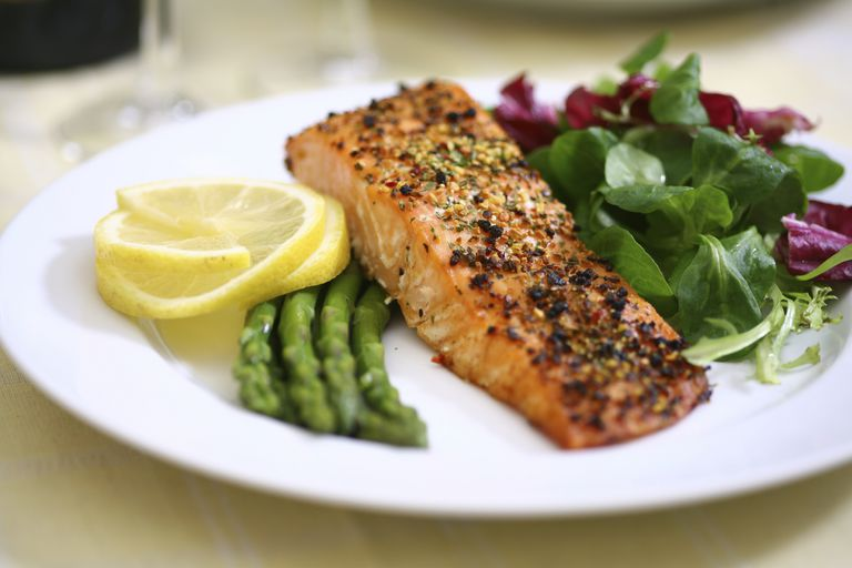 plate with salmon, asparagus, and mixed greens