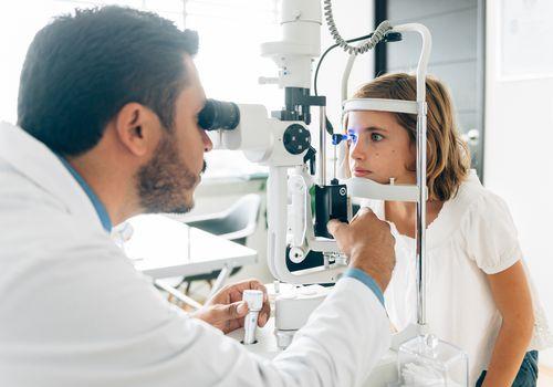 Child getting an eye exam