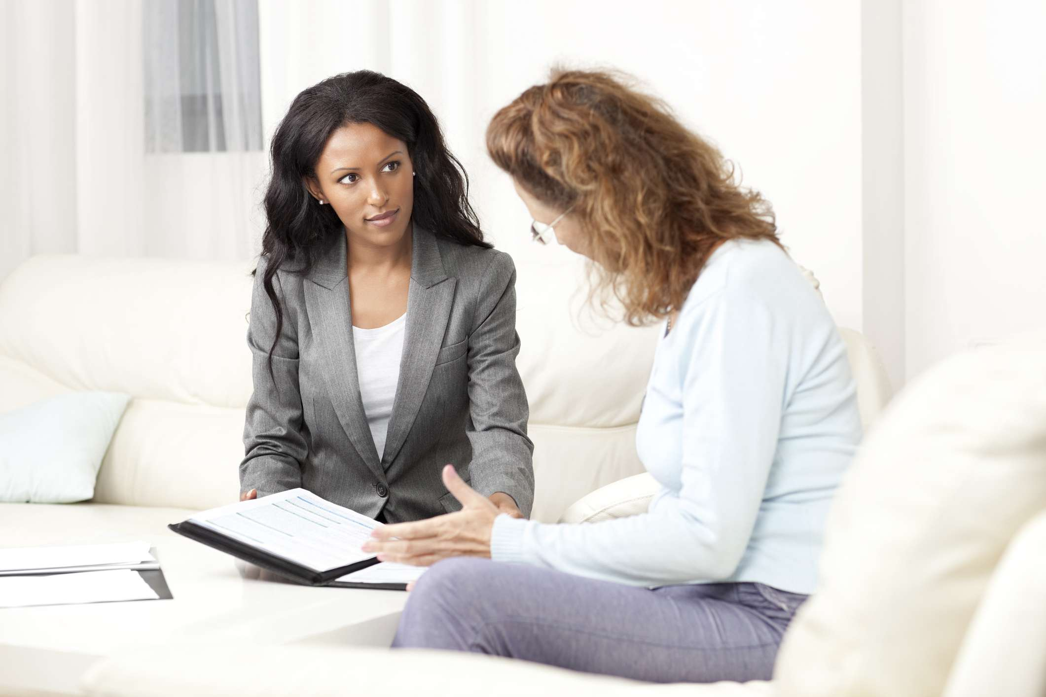 A disability lawyer works with her client